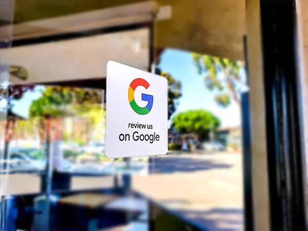 Review us on Google door sign