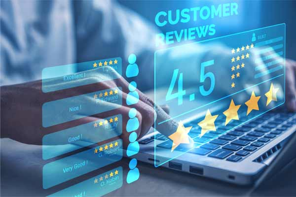 Reviews highlighted on a landing page